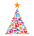 Pet care Christmas tree vector image vector image