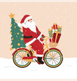 santa claus on a bicycle with gifts holiday vector image