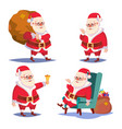 santa claus set isolated cartoon christmas vector image