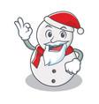 santa snowman character cartoon style vector image