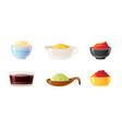 sauce bowl set soy wasabi mustard ketchup hot vector image vector image