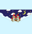 scene with fantasy castle on cloud at night vector image
