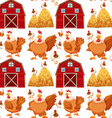 Seamless background with barn and chickens vector image