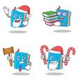 set of blue book character with santa candy vector image vector image