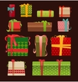 Set of Christmas present boxes vector image vector image