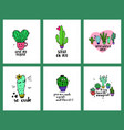 set of love cacti cards and lettering vector image