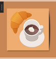 simple things - croissant and coffee vector image