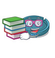 student with book ashtray mascot cartoon style vector image
