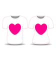 T shirt white pink heart template
