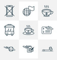 travel icons line style set with plane around the vector image