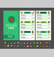 vegetarian or vegan healthy food menu cafe vector image vector image
