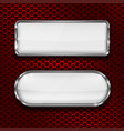 white glass 3d buttons on red metal perforated vector image vector image