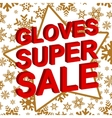 Winter sale poster with GLOVES SUPER SALE text vector image vector image