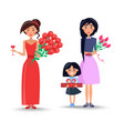 women and little girl with flowers and present vector image