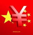 Yuan currency 3D symbol on a red background vector image