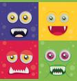 cartoon monster set in flat style happy halloween vector image