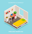 isometric home office workplace concept freelance vector image