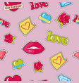 seamless pattern with lips roses hearts diamond vector image