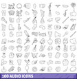 100 audio icons set outline style vector image vector image