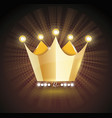 3d gold crown icon isolated ondark transparent vector image
