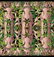 baroque floral 3d seamless pattern green vector image