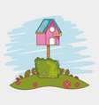 bird house cartoon vector image
