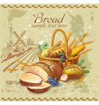 Breads in basket against country landscape vector image vector image