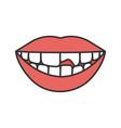broken tooth color icon vector image vector image