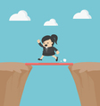 Business Cross the cliff With wonderful wood vector image vector image