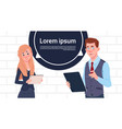 business man and woman holding tablet speak big vector image vector image