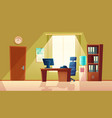 cartoon empty office with window modern vector image vector image