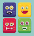 cartoon monster set in flat style happy halloween vector image vector image