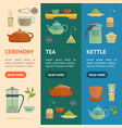 cartoon tea ceremony banner vecrtical set vector image vector image