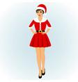 christmas snow maiden girl dressed as santa vector image