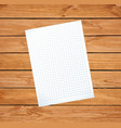 clean sheet blank on rustic wooden background vector image