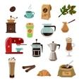 coffee retro flat icons set vector image vector image