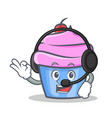 cupcake character cartoon style with headphone vector image vector image