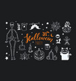 doodle halloween night collection spooky vector image vector image