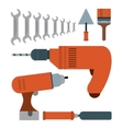 Drill spatula wrench brush tool icon vector image vector image