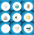 flat icon beach set of sunshine yacht wiper and vector image vector image