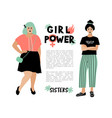 girl power card feminist poster stylish young vector image