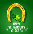 gold horseshoe with shamrock for st patricks day vector image