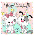greeting birthday card with cute cat and dog
