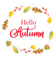 hello autumn poster with lettering and colorful vector image vector image