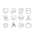 insurance thin icons business protection auto vector image vector image