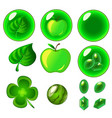 isolated green bubbles set vector image vector image