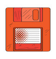 isolated retro diskette icon vector image