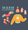 knitted woolen winter clothes and accessories vector image
