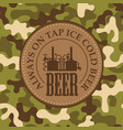 leather beer label on a camouflage background vector image vector image