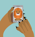 Leo selfie Lion photographed themselves on phone vector image